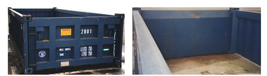 Half-height open-top containers